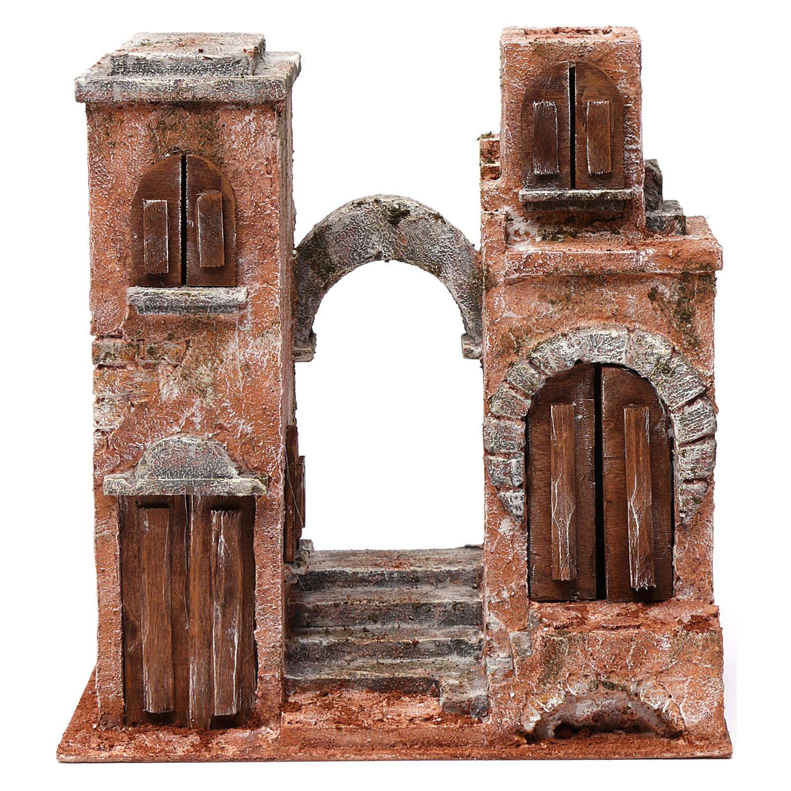 Décor arabe avec arc et escalier pour crèche 10 cm 30x30x15 cm 4
