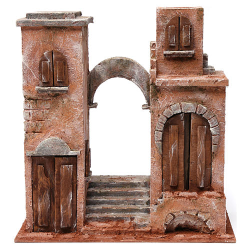 Décor arabe avec arc et escalier pour crèche 12 cm 35x35x20 cm 1