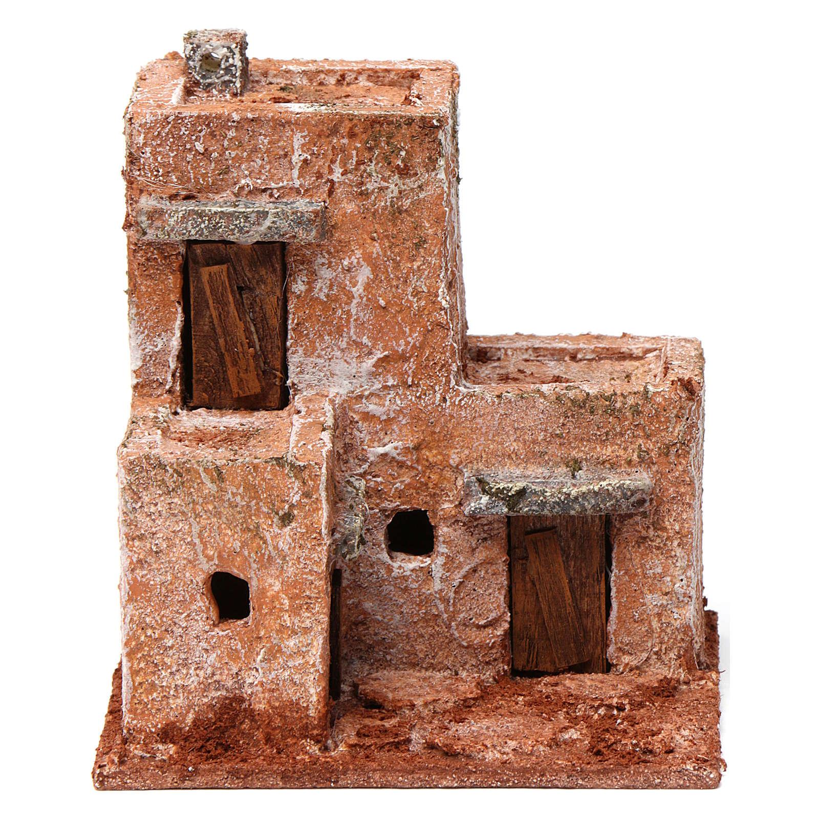 Casa piccola tre porte legno 10X10X10 stile palestinese cm 4