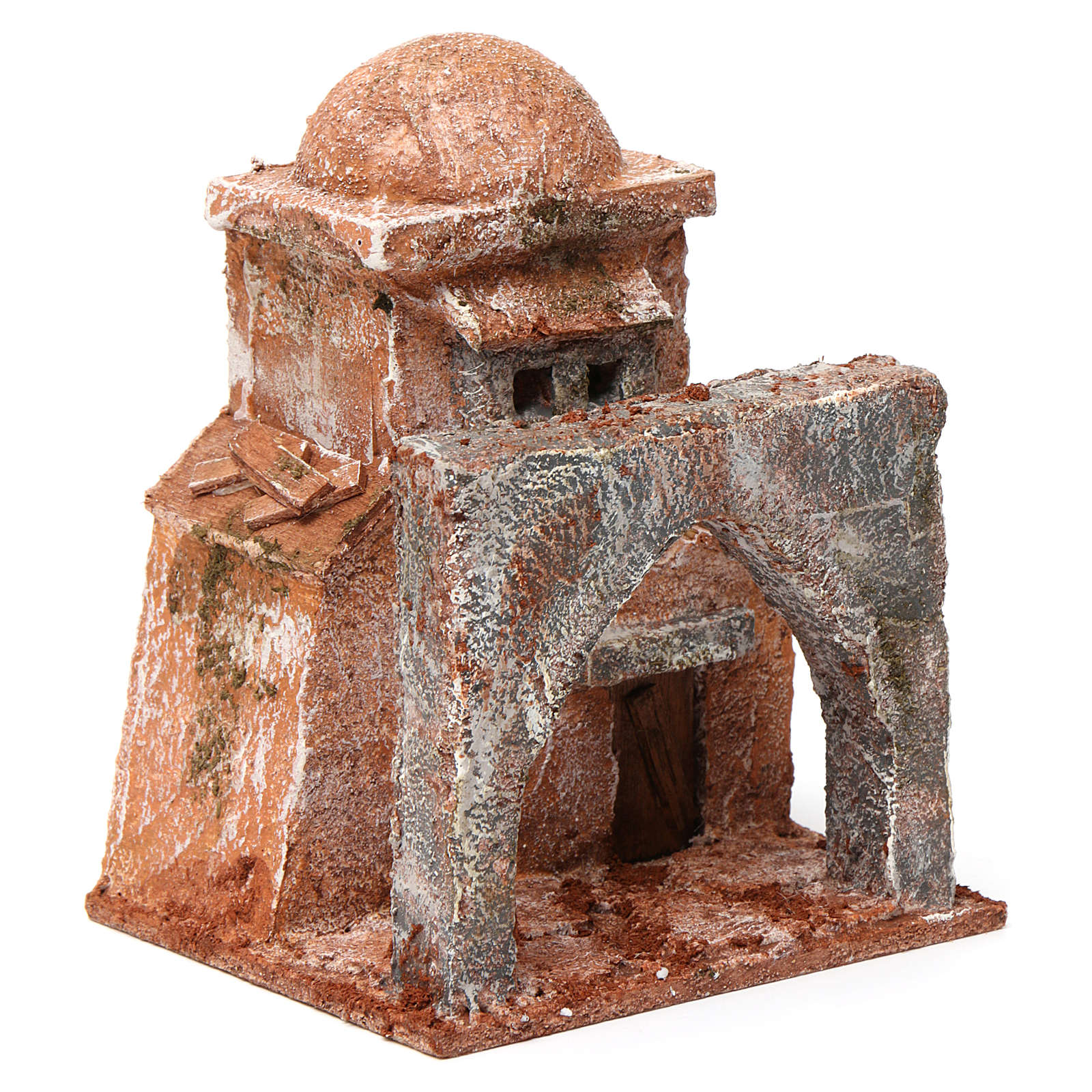 Casa araba piccola porta legno cupola e arco ogivale 10X10X10 cm stile palestinese 4