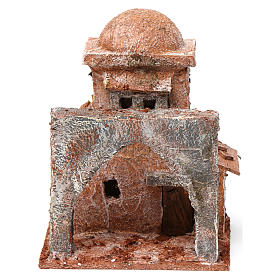 Casa araba piccola porta legno cupola e arco ogivale 10X10X10 cm stile palestinese s1
