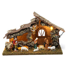 Wooden hut with led lights 30x40x20 cm with complete Nativity Scene s1