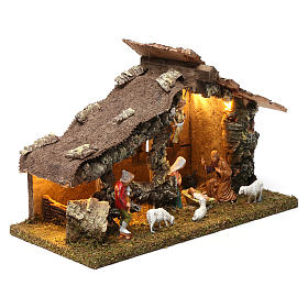 Wooden hut with led lights 30x40x20 cm with complete Nativity Scene s3