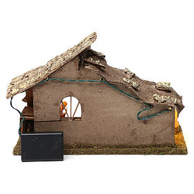 Wooden hut with led lights 30x40x20 cm with complete Nativity Scene s4
