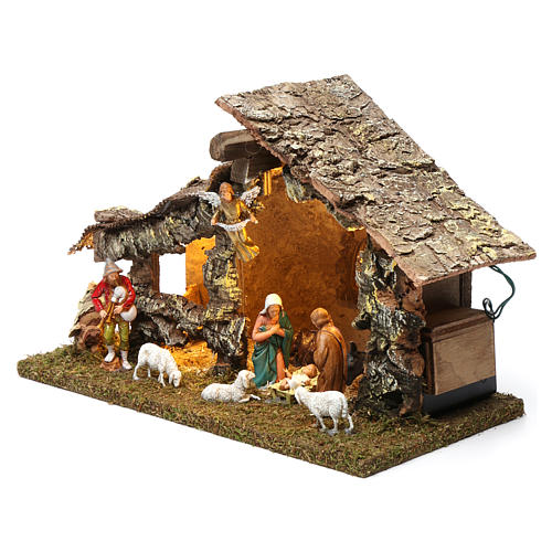 Wooden hut with led lights 30x40x20 cm with complete Nativity Scene 2