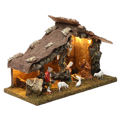 Wooden hut with led lights 30x40x20 cm with complete Nativity Scene 3