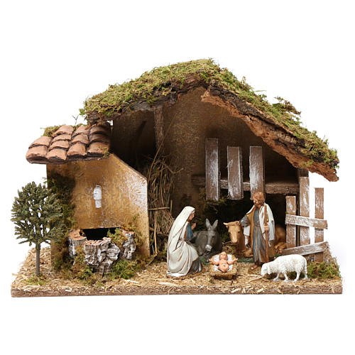 Hut with Holy Family and fountain 20x30x20 cm with complete Nativity Scene 1