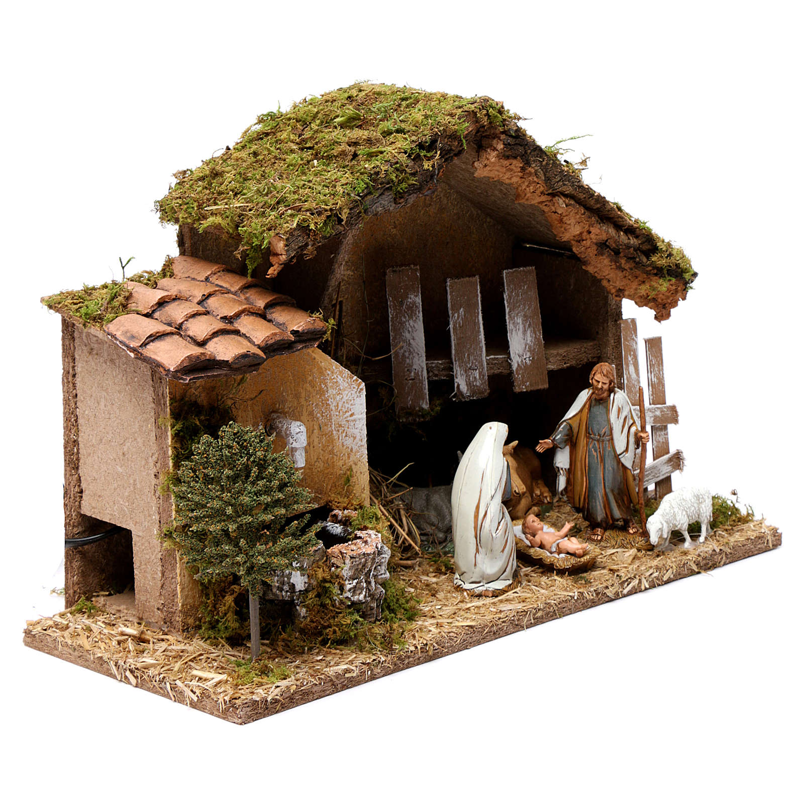 Barn with Nativity scene and fountain 20X30X20 cm 4