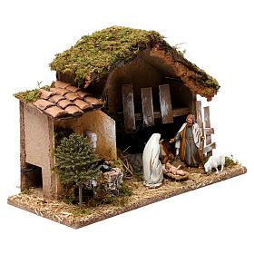 Barn with Nativity scene and fountain 20X30X20 cm s4