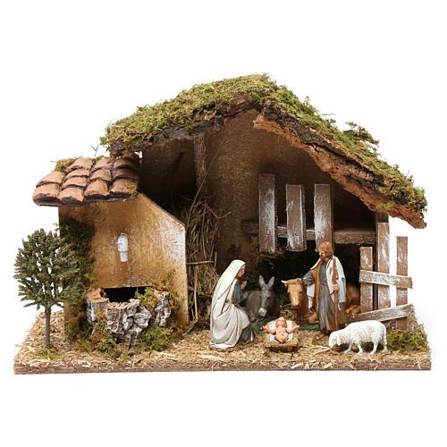 Barn with Nativity scene and fountain 20X30X20 cm 1