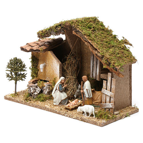 Barn with Nativity scene and fountain 20X30X20 cm 3