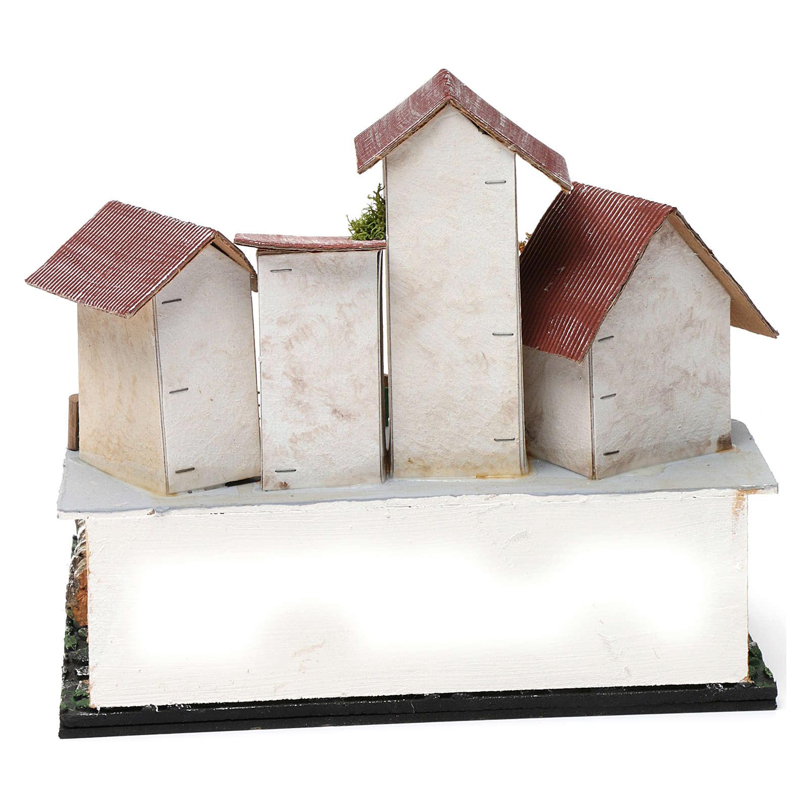 Borgo con piazza, pozzo, albero e porticato 25X25X20 cm per presepe 4