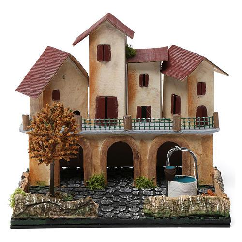 Borgo con piazza, pozzo, albero e porticato 25X25X20 cm per presepe 1