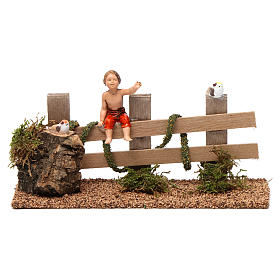 Bridges, streams and fences for Nativity scene: Fence with boy 10x20x5 cm for Nativity Scene 10 cm