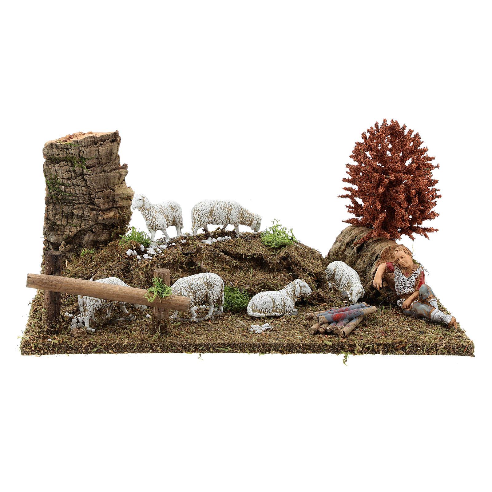 Sleeping shepherd with sheep 8-10 cm, Nativity Scene setting with tree 15x30x20 3