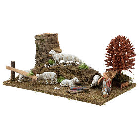 Sleeping shepherd with sheep 8-10 cm, Nativity Scene setting with tree 15x30x20 s2