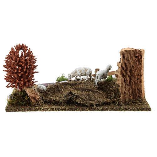 Sleeping shepherd with sheep 8-10 cm, Nativity Scene setting with tree 15x30x20 4