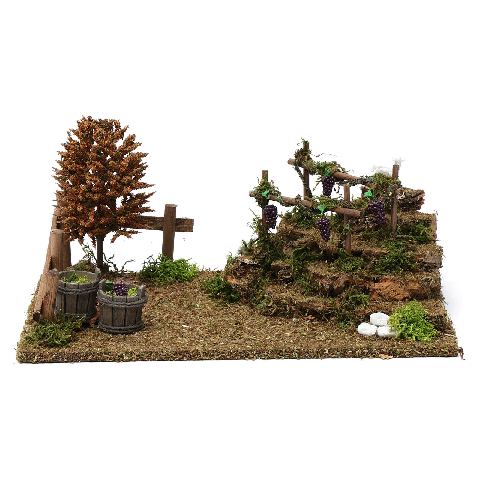 Hills with vineyards, tree and sheep 10x30x20 cm for Nativity Scene 8-10 cm 4