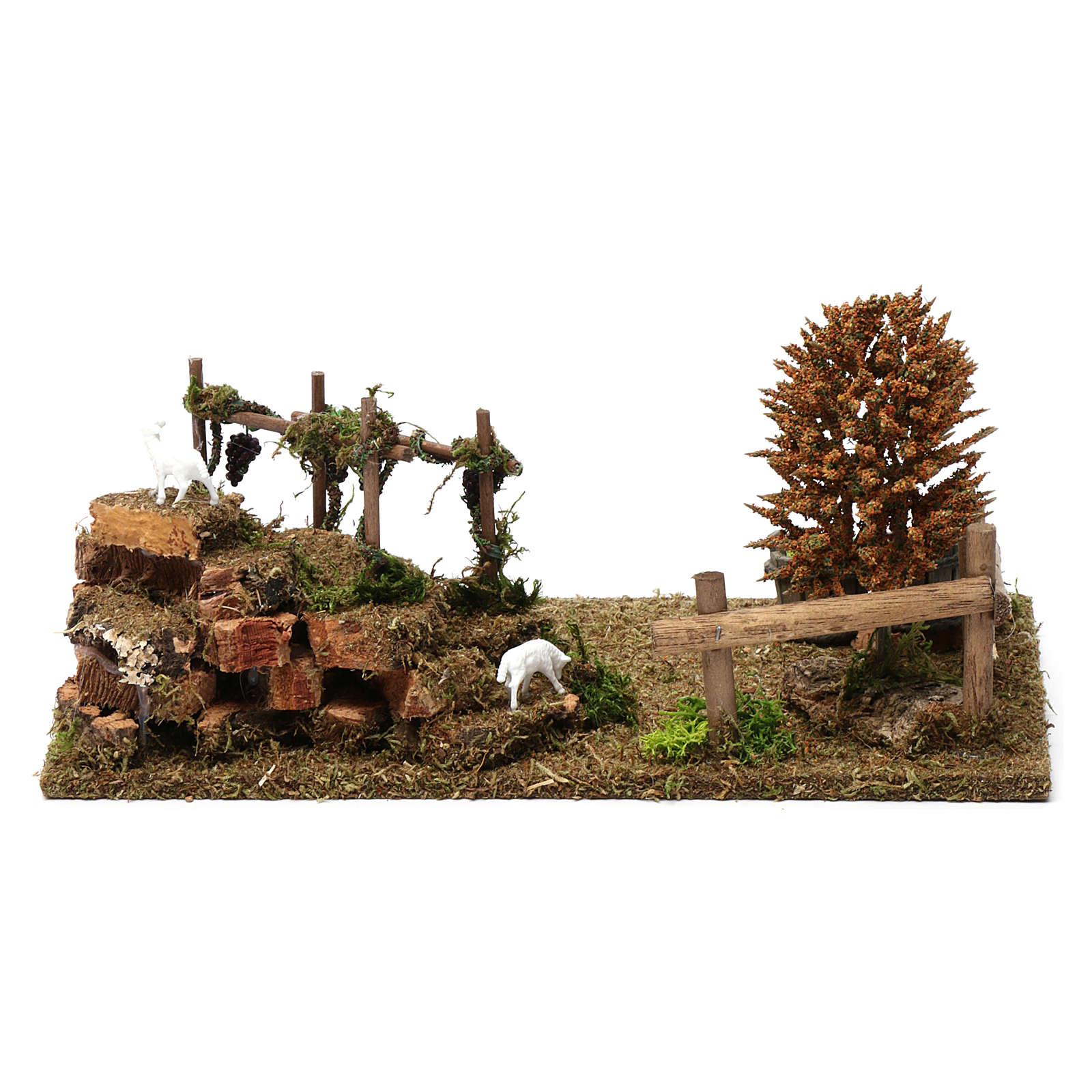 Colinas con viñedos, árboles, ovejas 10x30x20 cm para estatuas 8-10 cm de altura media 4