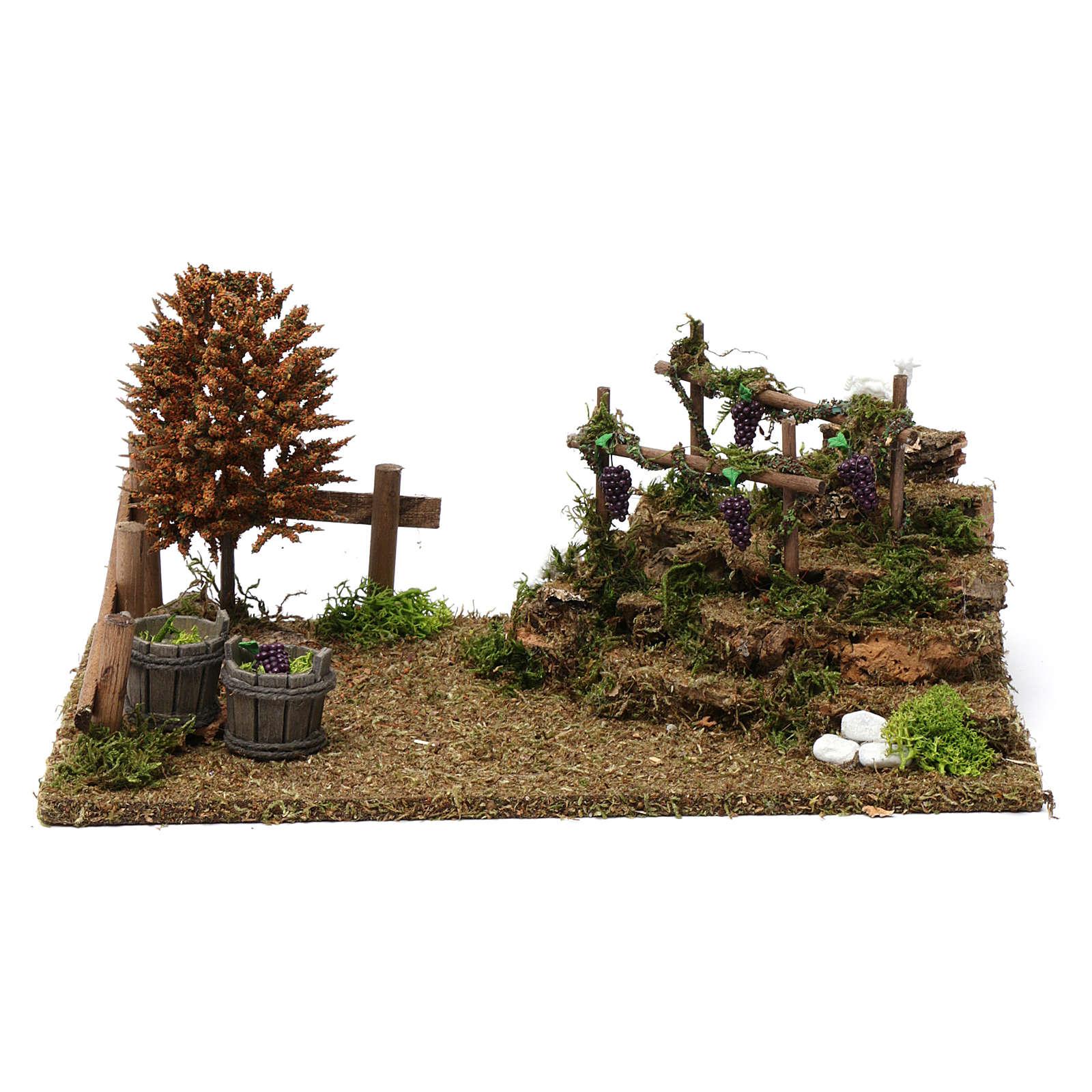 Colline con vigneti, albero, pecore 10X30X20 cm per figure presepe 8-10 cm 4