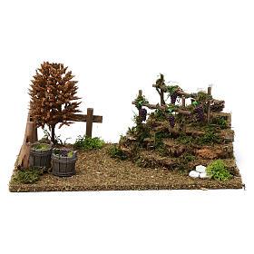 Colline con vigneti, albero, pecore 10X30X20 cm per figure presepe 8-10 cm s1