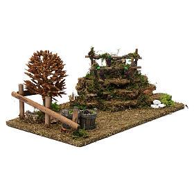 Colline con vigneti, albero, pecore 10X30X20 cm per figure presepe 8-10 cm s3