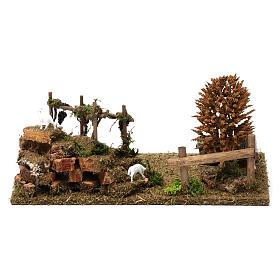 Colline con vigneti, albero, pecore 10X30X20 cm per figure presepe 8-10 cm s4