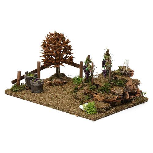 Colline con vigneti, albero, pecore 10X30X20 cm per figure presepe 8-10 cm 2
