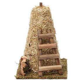 Maisons, milieux, ateliers, puits: Grande meule de foin échelle 20x10x15 cm pour crèche 8-10 cm
