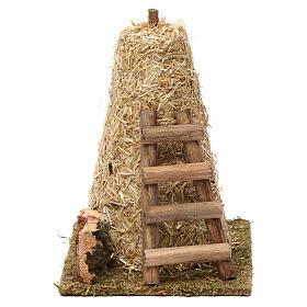 Palheiro grande e escada de mão 20x10x15 cm para presépio 8-10 cm s1