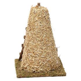 Palheiro grande e escada de mão 20x10x15 cm para presépio 8-10 cm s4