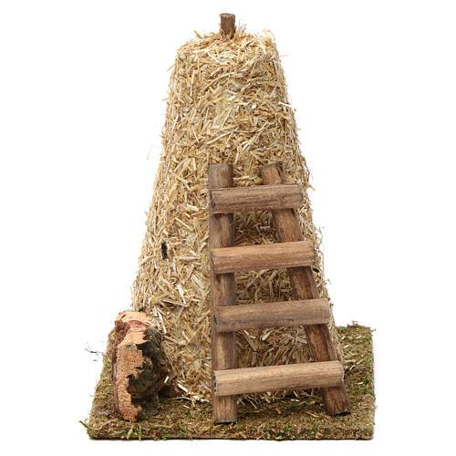 Palheiro grande e escada de mão 20x10x15 cm para presépio 8-10 cm 1