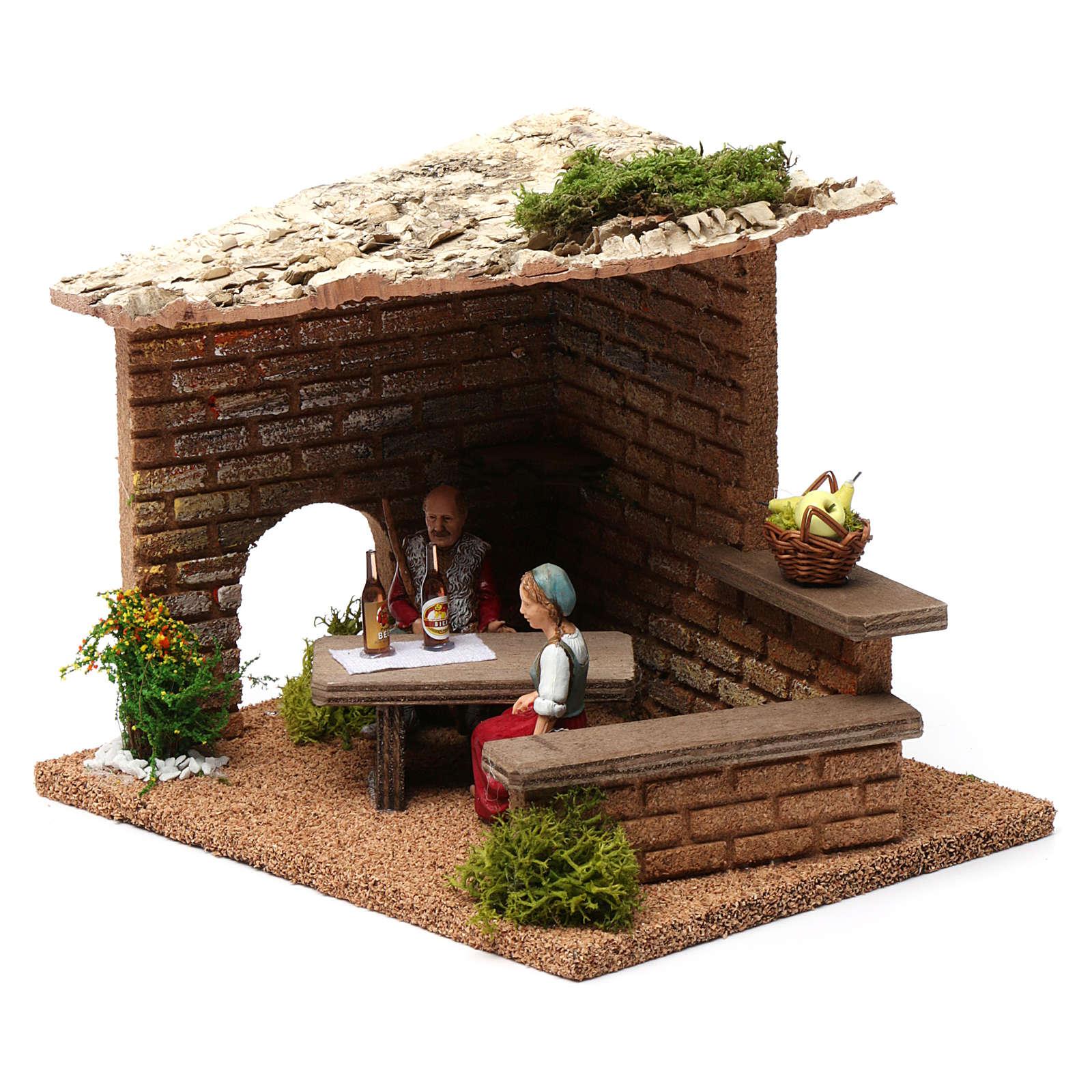 Cellar with farmers 20x20x20 cm for Nativity Scene 9-10 cm 4