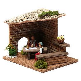 Cellar with farmers 20x20x20 cm for Nativity Scene 9-10 cm s3