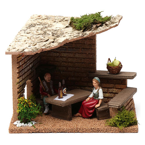 Cellar with farmers 20x20x20 cm for Nativity Scene 9-10 cm 1