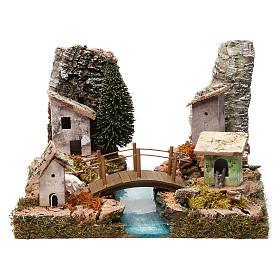 Tratto di fiume componibile tra case e ponte 20X20X20 cm s1