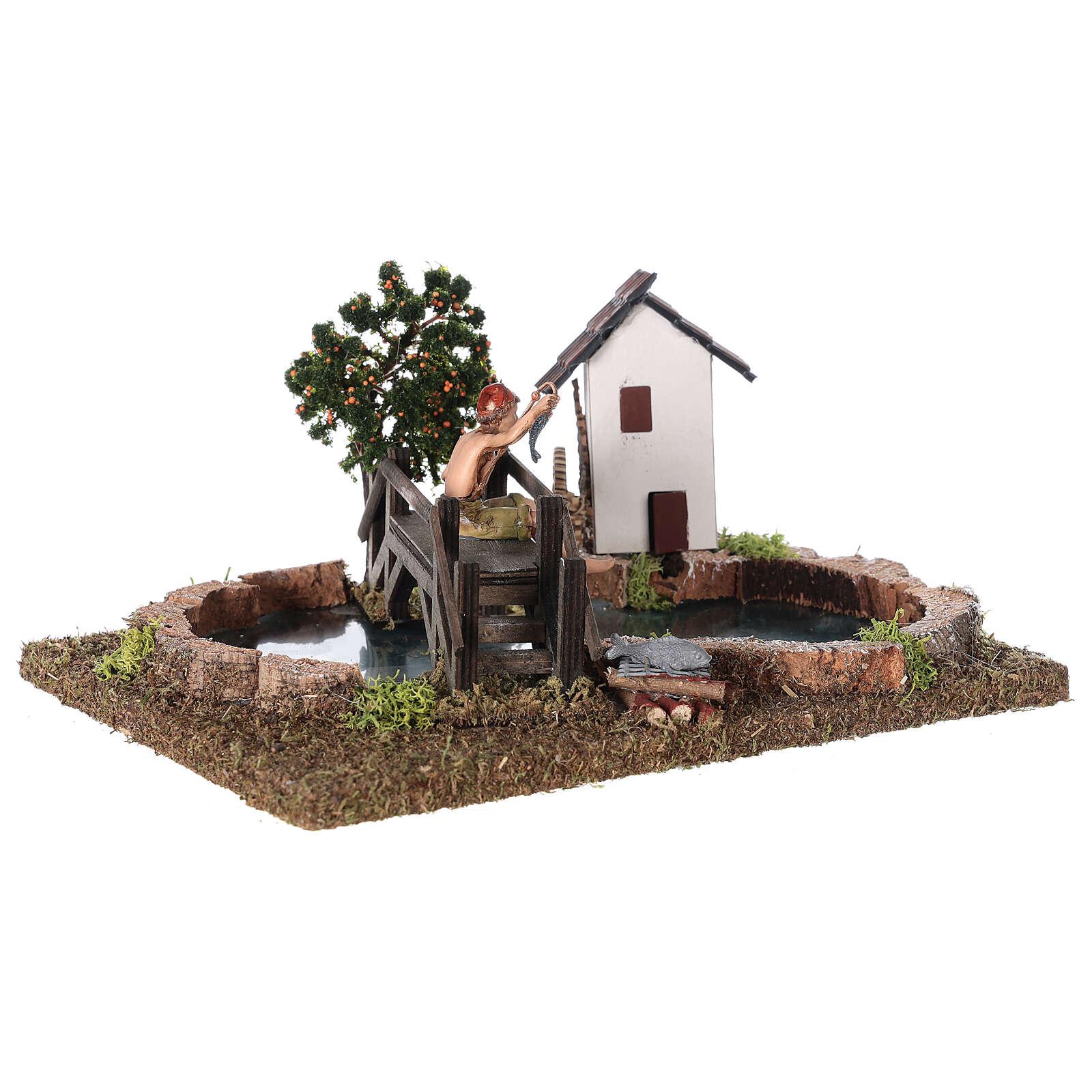 Troço de rio componível com casas e ponte 15x20x20 cm 4