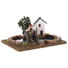 Troço de rio componível com casas e ponte 15x20x20 cm s3