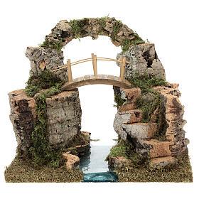 Ponts, ruisseaux, palissades pour crèche: Arc de rocher pont sur rivière 20x30x20 cm