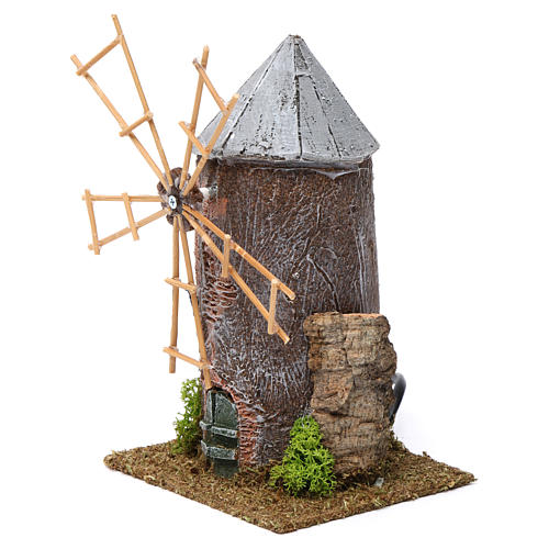 Electrical windmill in resin 20x10x10 cm 2