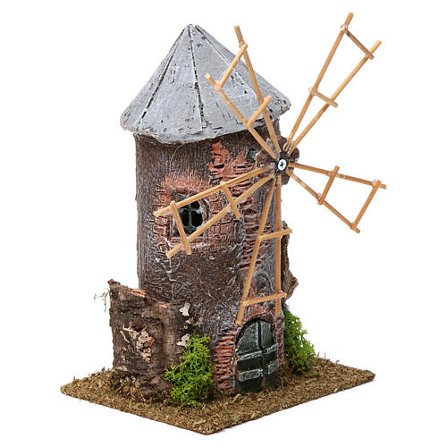 Electrical windmill in resin 20x10x10 cm 3