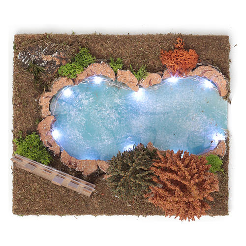 Lago arbolado luminoso 20x30x20 cm para belenes de 9-10 cm de altura media 4