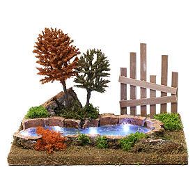 Lac boisé lumineux 15x30x20 cm pour crèche 9-10 cm s1