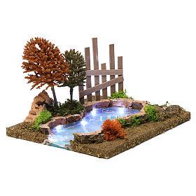 Lac boisé lumineux 15x30x20 cm pour crèche 9-10 cm s3