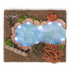 Lac boisé lumineux 15x30x20 cm pour crèche 9-10 cm s4