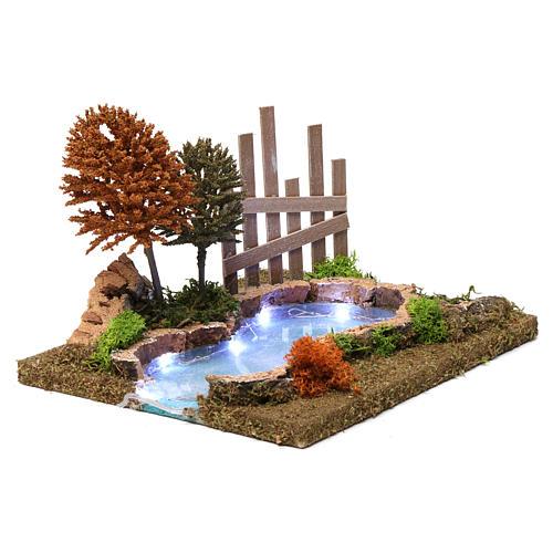 Lac boisé lumineux 15x30x20 cm pour crèche 9-10 cm 3
