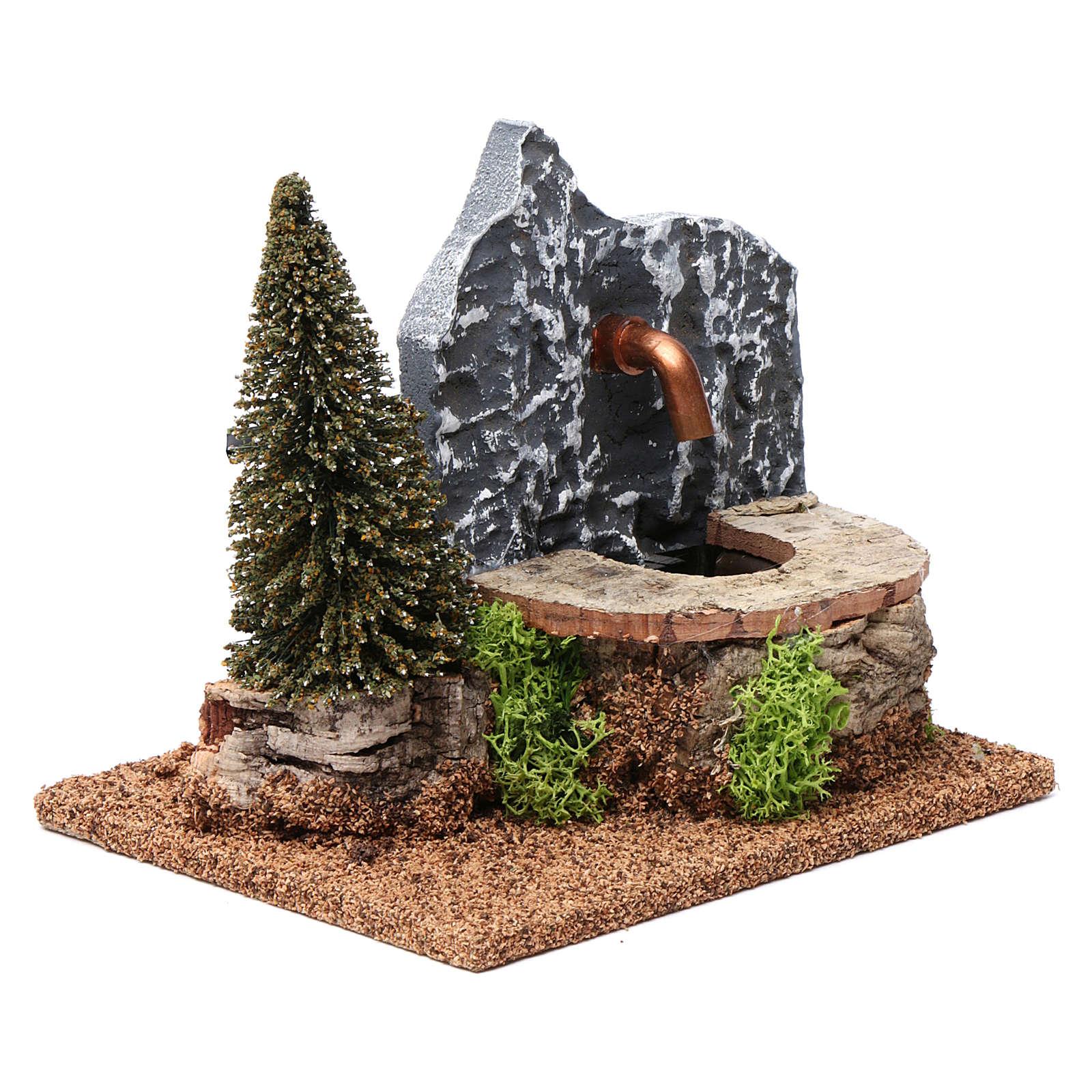 Fontana elettrica in sughero con pino 15X20X15 cm per presepi 9-10 cm 4