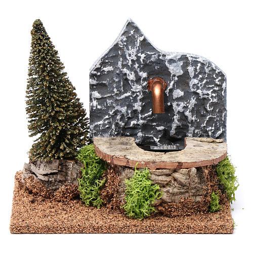 Fontana elettrica in sughero con pino 15X20X15 cm per presepi 9-10 cm 1