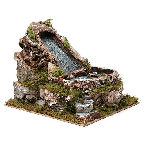 Wasserfall und kleiner See, für 9-10 cm Krippe, 20x20x25 cm 3