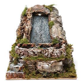 Ponts, ruisseaux, palissades pour crèche: Chute d'eau lac 20x20x25 cm pour crèche 9-10 cm
